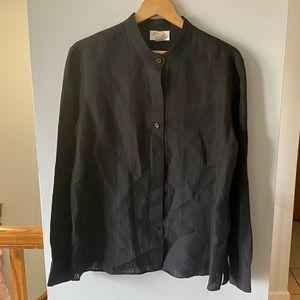Talbots Women's Linen Button Down Black Shirt 14